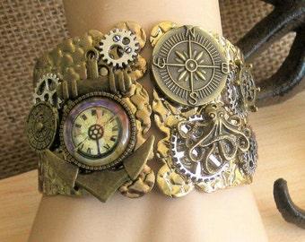 Steampunk Anchor, Cuff Bracelets, Cuff Bracelets, Steampunk Octopus, Steampunk Jewelry, Assemblage Cuff Bracelets, Steampunk Bracelet, SB008
