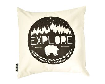 16x16 pillow cover, complete pillow, explore pillow, adventure decor, organic pillow, black and white pillow, bear pillow, decorative pillow