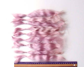 pink Combed Mohair straight locks extra long 25 cm for Doll Hair reroot/ Reborn/ BJD, Art Dolls, blythe, pullip, minifee, waldorf doll