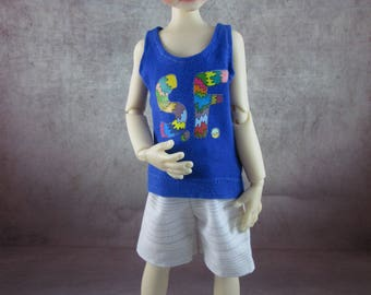 SF San Francisco tank top and board shorts for Maurice by Kaye Wiggs MSD BJD Boys