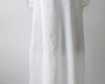 Vintage White Cotton Chemise • Sheer and Lace Cotton Undergarment