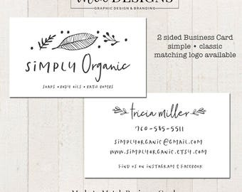 Simple Business Card, 2 Sided, Business Card, Double Sided Calling Card, Boutique Business Card, Made to Match Designs Available