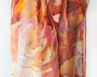 Silk Scarf Hand Painted Scarf Rose Garden Readt to Ship