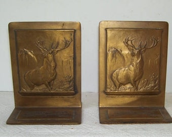 Hartford Fire Insurance Brass Advertising Bookends, Dated 1810-1935. Solid Brass Book Ends, 125th Anniversary , Stag Image, Bastian Bros Co