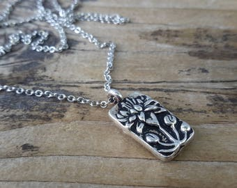 Silver Budding Lotus Flower Necklace | Antique Floating Water Lily Pendant | Small Sacred Lotus Rectangle Charm on Silver Chain