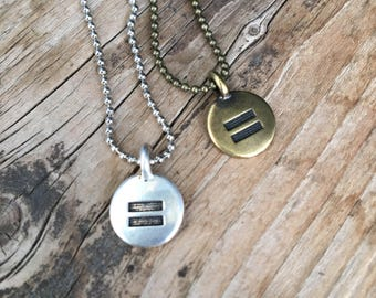 Equality Necklace | Silver Bronze Copper or Gold Equal Sign Disc Charm on Ball Chain | Round LBGT LBGTQ Rights Layering Necklace