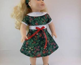 18 inch  Doll Dress Fits American Girl Doll Heritage 1930 s  Dark Green Berries White Eyelet  Collar Hair Band