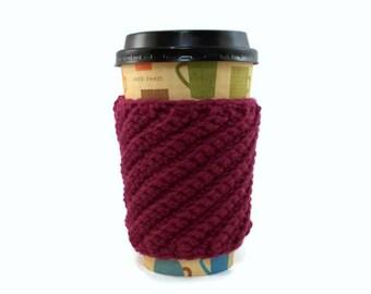 Crochet Cup Cozy, Fuchsia Pink Swirl Ridges, Coffee Sleeve, Cup Sleeve, Coffee Cozie, Coffee Lover Gift, Stocking Stuffer for Teens Women