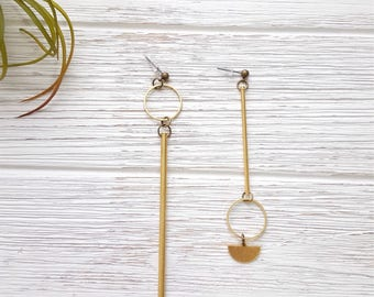 Asymmetrical Earrings Mix and Match Earrings Artisan Earrings Mismatched Earrings Gold Bar Earrings Gold Statement Earrings Long Statement