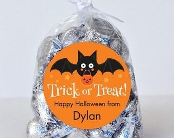 Halloween Stickers - Trick or Treat Bat (Orange) - Sheet of 12 or 24