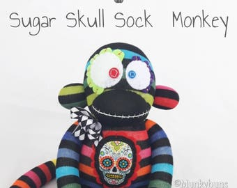 Sugar Skull Sock Monkey Doll WITH Embroidered Name