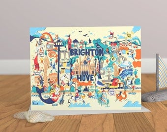 Brighton Map - Brighton Art Card - Brighton Illustration - Blank Greeting Card
