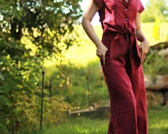 Silk Red Jumpsuit Small Size