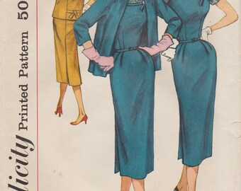Simplicity 1917 / Vintage 50s Sewing Pattern / Dress And Jacket / Bust 39