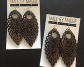 Lightweight Statement Earrings - Gold or silver finishings available - Dark Brown (Dyed) Bone