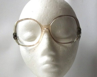 vintage 1970s NOS eyeglasses oversize round clear moss olive green peach ombre frame women eyewear eye glasses mid century neutral 54/14-135