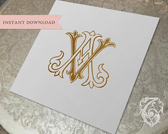 Vintage Wedding Monogram AV VA Digital Download A V