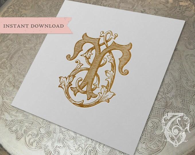 Vintage Wedding Monogram TI IT Digital Download I T