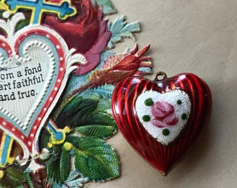 Art Deco Heart Charm, Vintage Guilloche Heart Pendant or charm, Enamel Heart, Guilloche charm, vintagerosefindings, Valentines day, #G123F