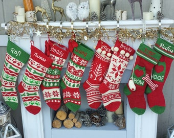 Knitted Christmas Stockings Red IVORY Green Fun Snowflake Family with Pets Cat Mouse Meow and Dog Bone Woof Knit Personalized Embroidered
