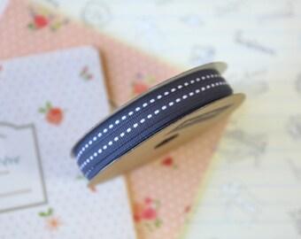 Dark Grey skinny stitched ribbon