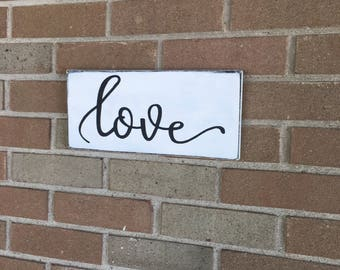 "Love,Love Sign,White Rustic Farmhouse Sign,Distressed Wood Sign,Fixer Upper Style Sign,Wooden Signs,Decorate Farm Sign,DAWNSPAINTING,12""x 6"""