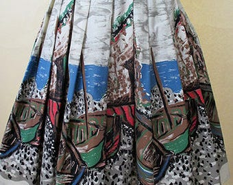 Charming 1950's/60's border print novelty print skirt abstract boat print Rockabilly swing dance skirt size medium