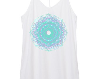 unicorn mandala tank - yoga - boho - geometry - triangles - star - stars - space - womens skinny strap cotton mandala tank top,
