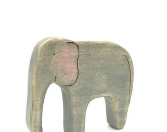 elephant wooden toy, waldorf toys, wooden toy animals,  elephant figurine
