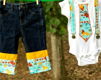 Lion Birthday Outfit: Boy Birthday Outfit, lion birthday, king, shirt, jeans, shorts, suspenders, blue, orange, green, adjustable, removable
