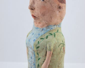 Folk art paper mache painted doll sculpture with antiqued crackle finish #5