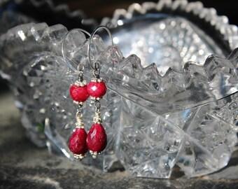 Long Ruby Earrings, Handmade Urban Chic Earrings, OOAK Wearable Art, Handcrafted Artisan Sterling Silver Earrings