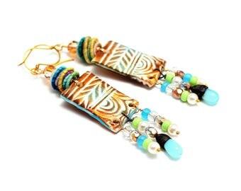 Colorful Tribal Boho Earrings. Artisan Polymer Clay Charms. Fiber Textile Beads. Long Dangle Earrings. Gifts For Her. Fiber Bead Earrings.