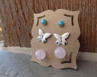 Vintage Stud Earrings - Trio Set Earrings - Sterling Silver Studs - Sterling Post Earrings - Turquoise - Enamel Butterfly - Pink Quartz