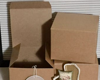 Kraft Gift Boxes, 4x4x3 Inch Pinstripe Chipboard Boxes, Set of 3, Recycled Content, Easy Tuck and Fold, FDA/USDA Compliant, Small Gift Box