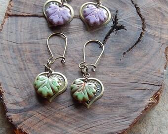 Boho leaf earrings - leafy drop earrings - little czech glass and brass leaves - dangle earrings - woodland jewelry - inspired by nature