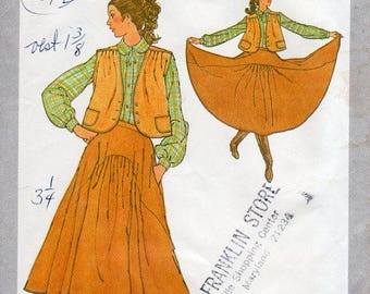 1970s Full Skirt & Vest Pattern - Vintage Simplicity 8904 - Size 14 Waist 28