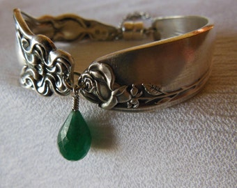 Antique Rose Spoon Bracelet   7.25 inch With Aventurine Gemstone
