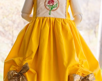 Beauty and the Beast Belle Inspired Embroidered Spring and Summer girls dress, size 6m, 12m, 2t, 3t, 4t, 5t, 6, 8, 10, 12