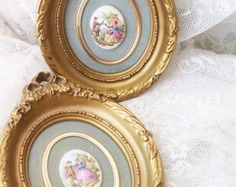 French Rococo Framed Cameo Art. French chic Boudoir Decor. Italian Renaissance Courtisans. Vintage Romance Decor