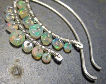 Ethiopian Opal Earrings - Silver Wire Threads
