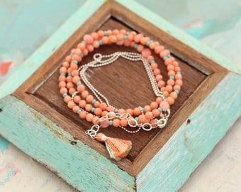 Beaded Strand in Coral, Turquoise and Silver
