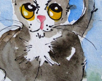 Curious Cat aceo original artist trading card watercolor painting Art by Delilah