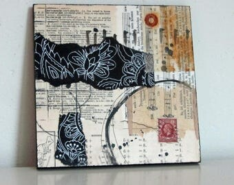 Original Mixed Media collage on mdf board