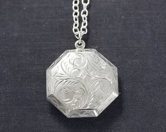 Large Sterling Silver Octagonal Locket Necklace, Deep Two Photo Pendant - Dazzling
