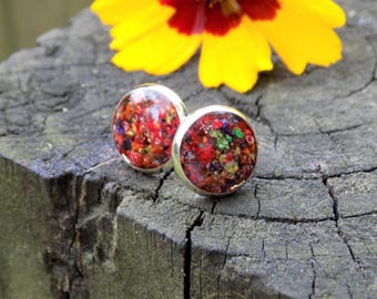 Real Flower Earring Studs - boho jewelry, earring posts, nature, gifts for her, bohemian, silver, petals, floral, botanical