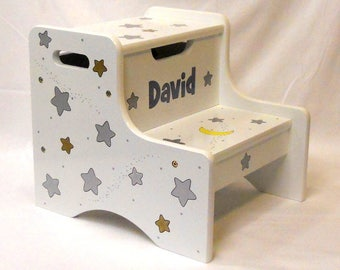Large Personalized Two Step Stool Silver and Gold Stars with a Yellow Moon