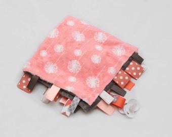 Baby Tag Ribbon Blanket - Minky Binky Blankie - Coral Dandelions - Coral and Grey