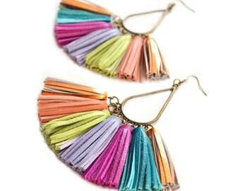 Dangle Earrings Leather Earrings Tassel Earrings Tassel Statement Earrings Fan Earrings Chandelier Earrings Fringe Earring Tear Drop Earring
