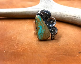 Royston Ribbon Turquoise Ring, Mens Turquoise Ring, Natural Turquoise Ring, Mens Jewelry, Mens Ring, Size 10 Ring, Natural Stone Ring, NYE